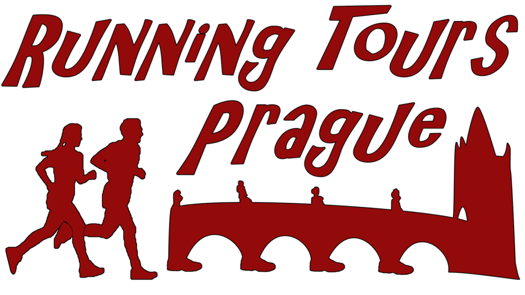 """logo, all in dark red: two silhouettes of running persons, a bridge and a heading """"running tours prague"""""""